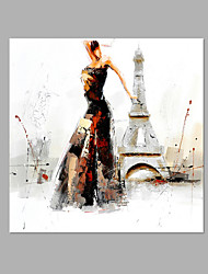 IARTS® Hand Painted Oil Painting A Lady Dance in Eiffel Tower Modern  Abstract Art Acrylic Canvas Wall Art For Home Decoration