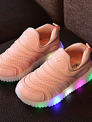 Girls' Shoes Leather Tulle Spring Summer Fall Light Up Shoes Sneakers Walking Shoes LED For Casual Outdoor White Light Green Blushing Pink