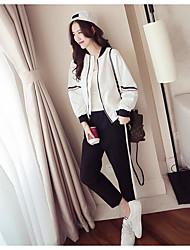 abordables -Mujer Simple Casual/Diario Primavera T-Shirt Pantalón Trajes,Escote Chino Un Color Estampado Manga Larga Microelástico