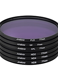 Andoer 77mm uv cpl fld nd (nd2 nd4 nd8) kit de filtro de fotografia ajustado filtro de densidade neutra fluorescente de polarização