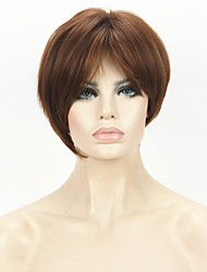 Fashion Light Auburn Inclined Bangs Short Straight Synthetic Hair Wig For Girl