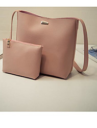 Women Bags All Seasons PU Tote 2 Pcs Purse Set for Casual Outdoor Black Blushing Pink Brown
