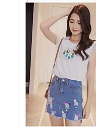 Women's Going out Casual/Daily Work Skirts Casual Summer Blouse Skirt Suits,Print Round Neck Sleeveless Lace Micro-elastic