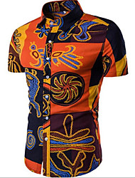 cheap -Men's Daily Beach Casual Summer Shirt,Solid Print Classic Collar Short Sleeves Cotton Others