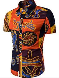 Недорогие -Для мужчин На каждый день Офис Рубашка Рубашечный воротник,Простое Однотонный С принтом С короткими рукавами,Хлопок Другое