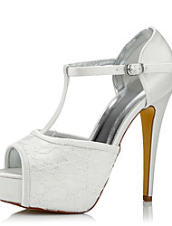cheap -Women's Heels Comfort Spring Fall Silk Tulle Wedding Dress Party & Evening Stiletto Heel Ivory 5in & over