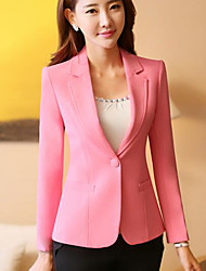 Women's Casual/Daily Simple Spring Blazer,Solid Notch Lapel Long Sleeve Short Polyester