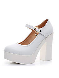cheap -Women's Shoes Microfiber Spring / Fall Formal Shoes Heels Chunky Heel Round Toe Buckle White / Black / Wedding / Party & Evening / Dress / Party & Evening