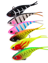 cheap -HiUmi 6Pcs/Lot 3D Eyes Lead Fishing Lures With Flexible Tail Soft Fishing Lure Single Hook Baits Artificial Bait Jig Wobblers Rubber 68mm 9g