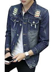 Veste en jean Homme,Couleur Pleine Rayé ModeAutre Quotidien Décontracté Vêtements de Plein Air Sortie Décontracté / Quotidien Soirée