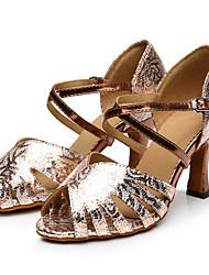 "cheap -Women's Latin Synthetic Heel Professional Flower Pattern/Print Cuban Heel Gold 2"" - 2 3/4"" 3"" - 3 3/4"" Customizable"