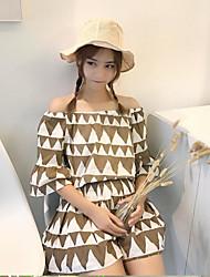 Manches Ajustées Robes Costumes Femme,Imprimé Quotidien Décontracté Décontracté Eté Manches 1/2 Bateau Micro-élastique