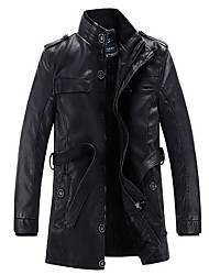 cheap -Men's Daily Casual Classic Vintage Casual Winter Fall Plus Size Long Leather Jacket,Solid Stand PU