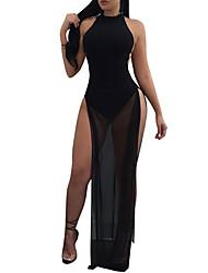 Feminino Bainha Vestido,Festa Para Noite Bandagem Sensual Simples Moda de Rua Retalhos Malha Gola Redonda Longo Sem MangaPoliéster Rede
