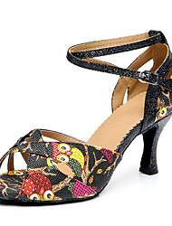 Недорогие -Для женщин Латина Синтетика На каблуках Профессиональный стиль Животные принты Кубинский каблук Черный 6 см 7,5 см Персонализируемая