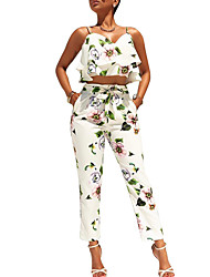 cheap -Women's Daily Ruffled Flower Straight Leg Summer Tank Top Pant Suits,Floral Strap Sleeveless Peplum Bow Ruffle Printing Polyester
