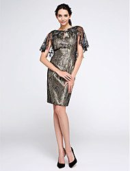 Sheath / Column Bateau Neck Knee Length Polyester Cocktail Party Dress with Appliques Pattern / Print by TS Couture®