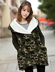 Cappotto Da donna Per uscire Casual Tenere al caldo Dolce Autunno Inverno,Camouflage Con cappuccio Cashmere Standard Manica lunga