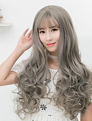 Cheap Women Synthetic Wigs Long Dark Chestnut Brown Grey Body Wave Middle Part With Bangs Natural Lolita Wig