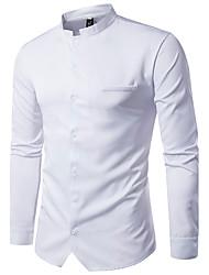 preiswerte -Herrn Solide - Geschäftlich Wochenende Hemd Baumwolle