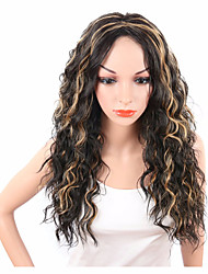 Long Bouncy Curly Synthetic Women's Wig Natural Black Mix Brown Color Hairstyle Heat Resistant Daily Wig For Black Women