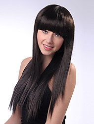 cheap -Black Color Synthetic Wigs Ladies Women Party Straight Hair Full Bang Wig Daily Wearing