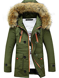 cheap -Men's Daily Weekend Simple Casual Military Winter Regular Coat, Solid Hooded Polyester