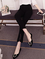 cheap -Women's Slim Wide Leg Pants - Solid Colored High Waist