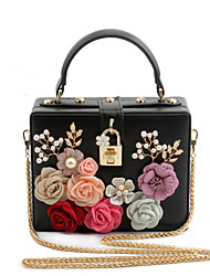 cheap -Women's Bags PU Evening Bag Appliques Flower for Wedding Event/Party Casual Formal Office & Career All Seasons Silver Red Blushing Pink