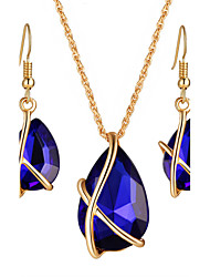 cheap -Women's Crystal Jewelry Set - Crystal, Rhinestone Drop Luxury, Dangling Style, Bohemian Include Necklace / Earrings / Bridal Jewelry Sets Black / Dark Blue / Red For Christmas Gifts / Wedding / Party
