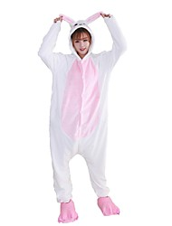 cheap -Adults' Kigurumi Pajamas Rabbit Bunny Onesie Pajamas Flannel Fabric Blue / Pink Cosplay For Animal Sleepwear Cartoon Halloween Festival / Holiday / Christmas