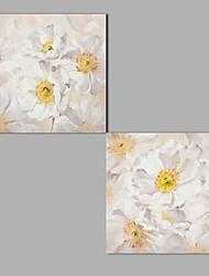 Peint à la main A fleurs/Botanique Luxe Abstrait Classique & Intemporel Chic & Moderne Art Déco/Rétro Spéciale Moderne Deux Panneaux Toile