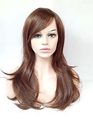 cheap -Middle Long Natural Straight Wig Light Brown Glueless Synthetic Wigs for European Women