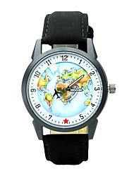 Homens Mulheres Relógio de Moda Relógio de Pulso Único Criativo relógio Chinês Quartzo PU Banda Vintage Pendente Casual Padrão Mapa do