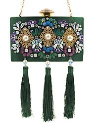 L.WEST Women's fashion jewel set auger dinner bag heavy tassels hand bag