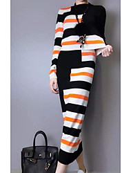 Women's Casual/Daily Simple Spring Fall T-shirt Skirt Suits,Striped Round Neck Long Sleeve