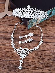 Mulheres Colar Brincos Estilizados na Frete e Atrás Gema Elegant Strass Liga Formato de Flor Para Casamento Presentes de casamento