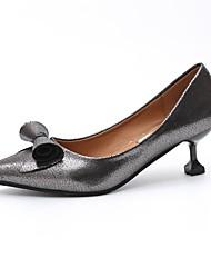 cheap -Women's Heels Light Soles PU Summer Casual Dress Kitten Heel Silver Black 1in-1 3/4in
