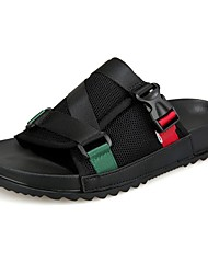 Men's Slippers & Flip-Flops Comfort Summer Tulle PU Casual Outdoor Buckle Flat Heel Black Green Flat