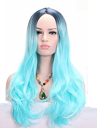 Black Roots Ombre Light Blue Long Wavy Synthetic Wigs High Temperature Heat Resistant For Black Women