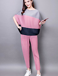 cheap -Women's Daily Casual Summer Blouse Pant Suits,Color Block Round Neck Short Sleeve Polyester