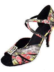 "cheap -Women's Latin Satin Sandal Performance Pattern/Print Stiletto Heel Black 3"" - 3 3/4"" Customizable"