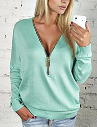 cheap -Women's Daily Casual T-shirt,Solid V Neck Long Sleeves Polyester