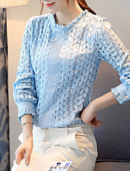 cheap -Women's Daily Going out Casual Fall Blouse,Solid Round Neck Long Sleeves Cotton