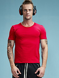 New men's short sleeve T-shirt cotton T-shirt fashion trend leisure sports classic clean color pure color Red T-shirt AMD1014-6