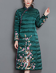 Women's Long Down Coat,Street chic Going out Print-Polyester Polypropylene Long Sleeves