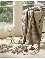 Knitted Solid Cotton/Polyester Blankets