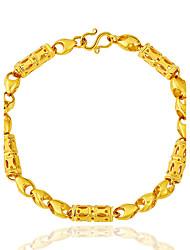 baratos -Homens Mulheres Chapeado Dourado Pulseiras em Correntes e Ligações - Personalizada Vintage Hip-Hop Fashion Rock Punk Redonda Tubular