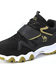 Running Shoes Camel Men's Comfort Suede Lace-up Flat  Athletic Shoes Color Black and Red/Black and Gold