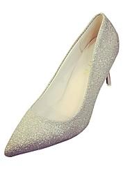 Femme Chaussures à Talons Confort Eté Polyuréthane Habillé Talon Aiguille Or Argent 5 à 7 cm